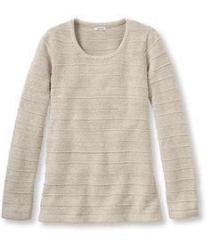 Marled Cotton Sweater, Ottoman-Stitch Pullover Stripe