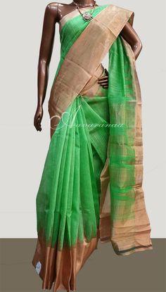 Green Matka silk with tissue border