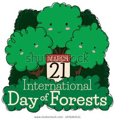 Tender triplet of trees promoting International Day of Forests with calendar reminding you to celebrate this date in March International Day, March 21, Triplets, Forests, Promotion, Royalty Free Stock Photos, Calendar, Trees, Illustration