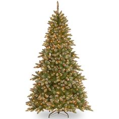 Glittery Mountain 7.5' Green Artificial Spruce Christmas Tree with 750 Colored & Clear Lights