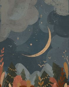 Moon and forest illustration by Raahat Kaduji Cute Wallpapers, Wallpaper Backgrounds, Impression Textile, Forest Illustration, Painting For Kids, Aesthetic Art, Belle Photo, Art Inspo, Amazing Art