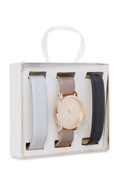 Primark - Uhr mit 3 auswechselbaren Armbändern