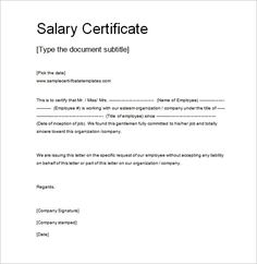 Salary Certificate Template - 25+ Free Word, Excel, PDF, PSD Documents Download…