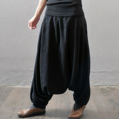 Women  autumn and winter cotton linen pants - Buykud  - 1
