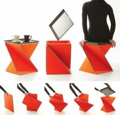 Inspired by the traditional Japanese art of paper folding, Origami, designer Yves Behar has come up with an innovative piece of furniture that tries to unfold modern lifestyle, which keeps changing day by day, through its simple, flexible and multiple usages. Claimed 'Kada,' the folding furniture can be twisted into a stool and a side table, adapting to varied needs.