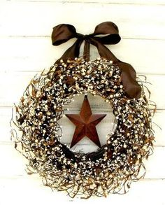 RUSTIC FALL Star Door Wreath-Fall Door Wreath-Brown Wreath-Primitive Country-Rustic Home Decor-Scented Mulled Cider -Choose Scent and Ribbon by Naghma