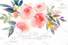 Floral Medley - Watercolor Floral Se by SmallHouseBigPony on ooks lovely on wedding invitations, greeting cards, logos, business cards and more! Floral bouquet, elements and Watercolor Background, Watercolor And Ink, Watercolor Flowers, Watercolor Painting, Watercolors, Floral Logo, Floral Design, Heritage Rose, Flower Clipart