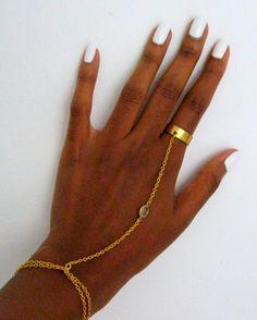Crystal Hand Bracelet Panja Slave Bracelet tube ring Women by FDLM, $25.00