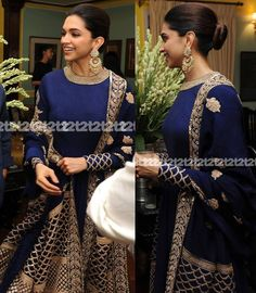 A bash was hosted by The Telegraph in Kolkatta this past Sunday to celebrate Piku's success. Deepika Padukone, the leading lady of the film was in attendance with director Shoojit Sircar. She wore a royal blue and gold Anarkali by Sabyasachi. Indian Dresses, Indian Outfits, Indian Clothes, Indian Designer Suits, Indian Designers, Anarkali Dress, Sabyasachi Gown, Anarkali Suits, Indian Attire