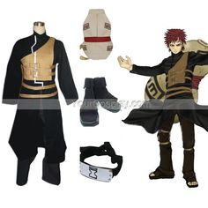 Naruto Shippuden Gaara Men's Cosplay Costume and Accessories Set, Naruto Cosplay Costumes, Cosplay Costumes