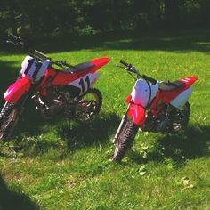 Thanks dad! Honda CRF 150f (left) and Honda CRF 70f (right)