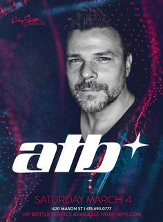 ATB's catchy, vocal-driven singles crossed over from clubs to mainstream pop radio, making him one of the most recognizable artists of trance's late-'90s/early-2000s commercial peak. See him at Ruby Skye this Saturday!