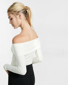 express one eleven off the shoulder fitted tee