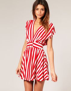Motel Emilia Nautical Stripe Gold Button Dress. Now I need a yacht so I can throw and party and wear this.