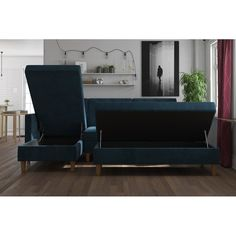 Mistana Cordell Sleeper Sectional with Ottoman Upholstery Color: Black Faux Leather Sleeper Sectional, Modern Sectional, Chaise Sofa, Living Room Modern, Living Room Designs, Living Room Arrangements, Living Room Furniture, Studio Furniture, Storage Spaces