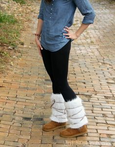 How to sew a women's boot cover up, to embellish your boots to look like the new suede and fur boots. Budget friendly, and easy to sew. Fur Boot Cover Ups with Suede ties.