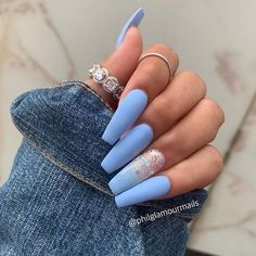 Awesome Acrylic Coffin Nails Designs In Summer - Nail Art Connect : Awesome Acrylic Coffin Nails Designs In Summer - Nail Art Connect day nails acrylic coffin Blue Ombre Nails, Baby Blue Nails, Blue Acrylic Nails, Coffin Nails Matte, Nail Art Designs, Short Nail Designs, Nail Design Spring, Wedding Nail Polish, Diy Nails