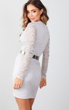Old Flame dress in grey lace