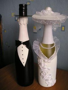 Wow out of wine bottles!! Bride and Groom duo. Love it.