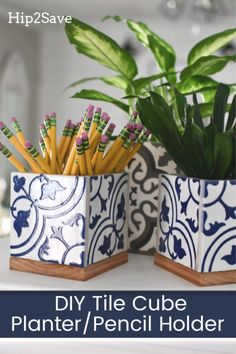 Try our simple DIY planter box or pencil holder using leftover tiles Great Teacher Gift! Try Our Simple DIY Planter Box or Pencil Holder Using Leftover Tiles<br> Diy Planter Box, Diy Planters, Garden Planters, Tile Projects, Diy Projects To Try, Project Ideas, Azulejos Diy, Ceramic Tile Crafts, Ceramic Painting