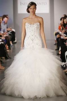 Ines DiSanto Spring 2014: mermaid, ruffled tulle skirt, crystal embroidery, wedding gown with slightly scalloped sweetheart neckline