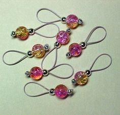 Knitting Stitch Markers   Pink Lemonade Crackle - 2014 DIY Crochet Storage