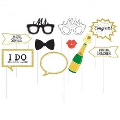 Our Wedding Photo Booth Props are the perfect addition to your special day. This package of 10 assorted cardstock props each feature a white plastic stick. Gold Wedding Theme, Glitter Wedding, Our Wedding, Party Wedding, Wedding Ideas, Photo Booth Kit, Wedding Photo Booth Props, Photo Booths, Themes Photo