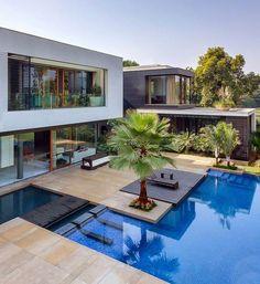 piscine moderne avec terrasse en bois composite et palmiers géants
