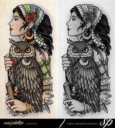 Owl n Gypsy Tattoo Designs
