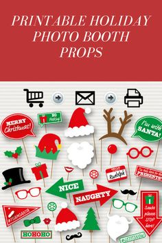 Fun photo booth props perfect for a holiday party, just download, print and go! #commissionlink #christmas #holidays #photoprops #photoboothprops #holidayparty #holidaypartyideas #christmasparty #holidayhosting
