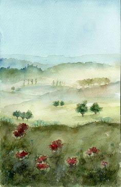 Original Aquarell,Watercolor,Landscape,Klatschmohn,Landschaft Poppys