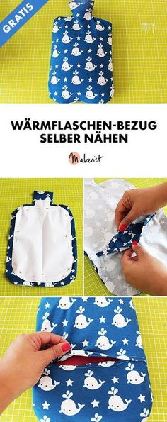 Sewing hot water bottle cover yourself - Free sewing instructions via Makerist.de : Sew hot water bottle cover yourself – Free sewing instructions via Makerist. Easy Sewing Projects, Sewing Projects For Beginners, Sewing Hacks, Sewing Tutorials, Sewing Tips, Knitting Projects, Baby Knitting Patterns, Knitting Patterns Free, Water Bottle Covers