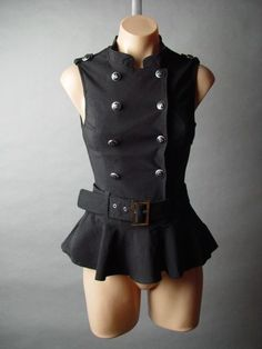 Blk Military 40s Steampunk Belted Peplum Top S
