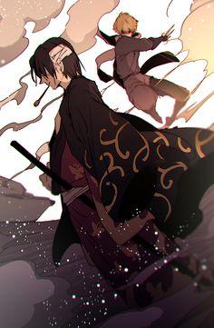 Pixiv Id 3902051, Gin Tama, Hattori Zenzou, Takasugi Shinsuke, Bandage Over One Eye, Smoking Pipe