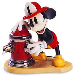 WDCC Disney Classics Mickey's Fire Brigade Mickey Mouse Fireman To The Rescue #WDCCDisneyClassics #Art. Fire Hydrant: A clear resin water droplet drips from the fire hydrant, which is highlighted with shiny silver paint. Mickey's Tail: Metal.