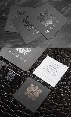 Sharp Styling On A Black And Silver Foil Square Business Card For A Club Lounge