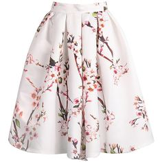 SheIn(sheinside) Plum Blossom Print Flare Skirt ($22) ❤ liked on Polyvore featuring skirts, bottoms, shein, short flared skirt, pink floral skirt, pink skirt, floral pleated skirt and flared skirt