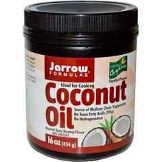 Jarrow Formulas, Organic, Coconut Oil, 16 oz (454 g) - iHerb.com. Bruk gjerne rabattkoden min (CEC956) hvis du vil handle på iHerb for første gang. Da får du $5 i rabatt på din første ordre (eller $10 om du handler for over $40), og jeg blir kjempeglad, siden jeg får poeng som jeg kan handle for på iHerb. :-)