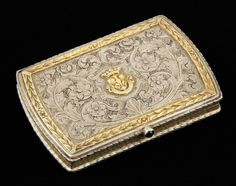 """Steamship card case, chased .800 silver, with cabochon sapphire clasp, inscribed """"R. N. Andrea Doria,"""" 3"""" h x 2 1/8"""" w. Provenance: From a Pennsylvania collection."""