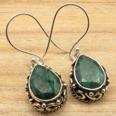 ROYAL EMERALD Drop Gemstones Antique Jewelry Design Earrings ! 925 Silver Plated #DropDangle