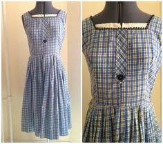 Such a sweet little dress with amazing details!  |features| circa 1960s fitted waist full skirt side metal zipper scalloped trim square neckline #vintage #dress #plaid