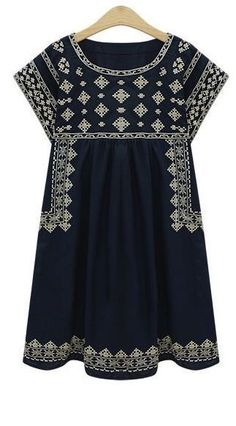 Stitch fix spring fashion trends 2016 Navy embroidered shift dress