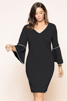 4851ade0be15 Plus Size - Sara Bell Sleeve Dress Trendy Plus Size Clothing, Plus Size  Dresses,