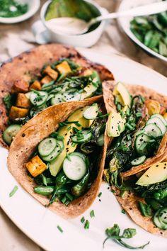 Funky Green Tacos via Earthy Feast