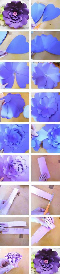"""Mesa de regalos … """"Giant Paper Flower Tutorial with Templates, DIY paper flowers, Tutorials, Flower S Easy Paper Flowers, Paper Flower Backdrop, Paper Flower Tutorial, Diy Flowers, Fabric Flowers, Flower Paper, Flower Diy, Heart Flower, Origami Flowers"""