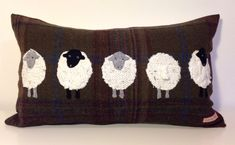 5 Sheep appliqué tweed boudoir cushion by TeacupTweed on Etsy, Applique Cushions, Sewing Pillows, Wool Pillows, Wool Applique, Sheep Art, Sheep Wool, Penny Rugs, Fabric Crafts, Sewing Crafts