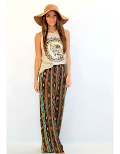 Brown and Teal Tribal Printed Pants - Lotus Boutique
