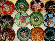 Plates at one of Morocco's renowned bazaars