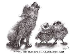 """""""Howling Wolf Meets Howling Owls"""" - Ironical art by Stefan Kahlhammer on Facebook"""