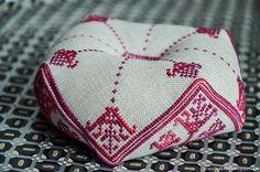 Floral Garden Biscornu cross stitch pincushion by FireplaceHobby
